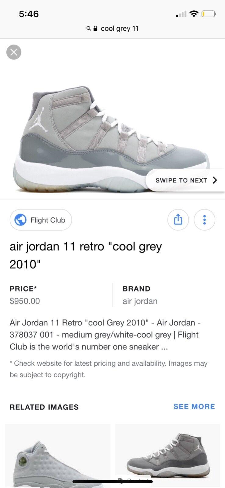 2010 Air Jordan 11 XI Retro Cool Grey SZ13 378037-001 100% AUTHENTIC VNDS