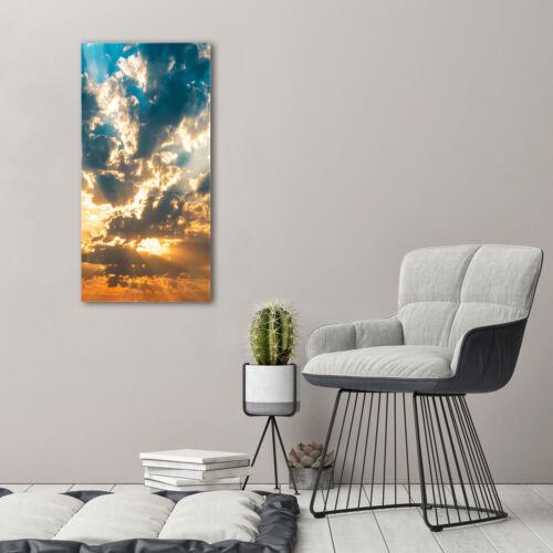 Wandbild Kunst-Druck auf Hart-Glas senkrecht 50x100 Wolken Himmel
