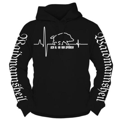 Con cappuccio Pullover selvatico battito cardiaco hoodie CINGHIALE CACCIATORE CACCIA usciranno uomo salvezza