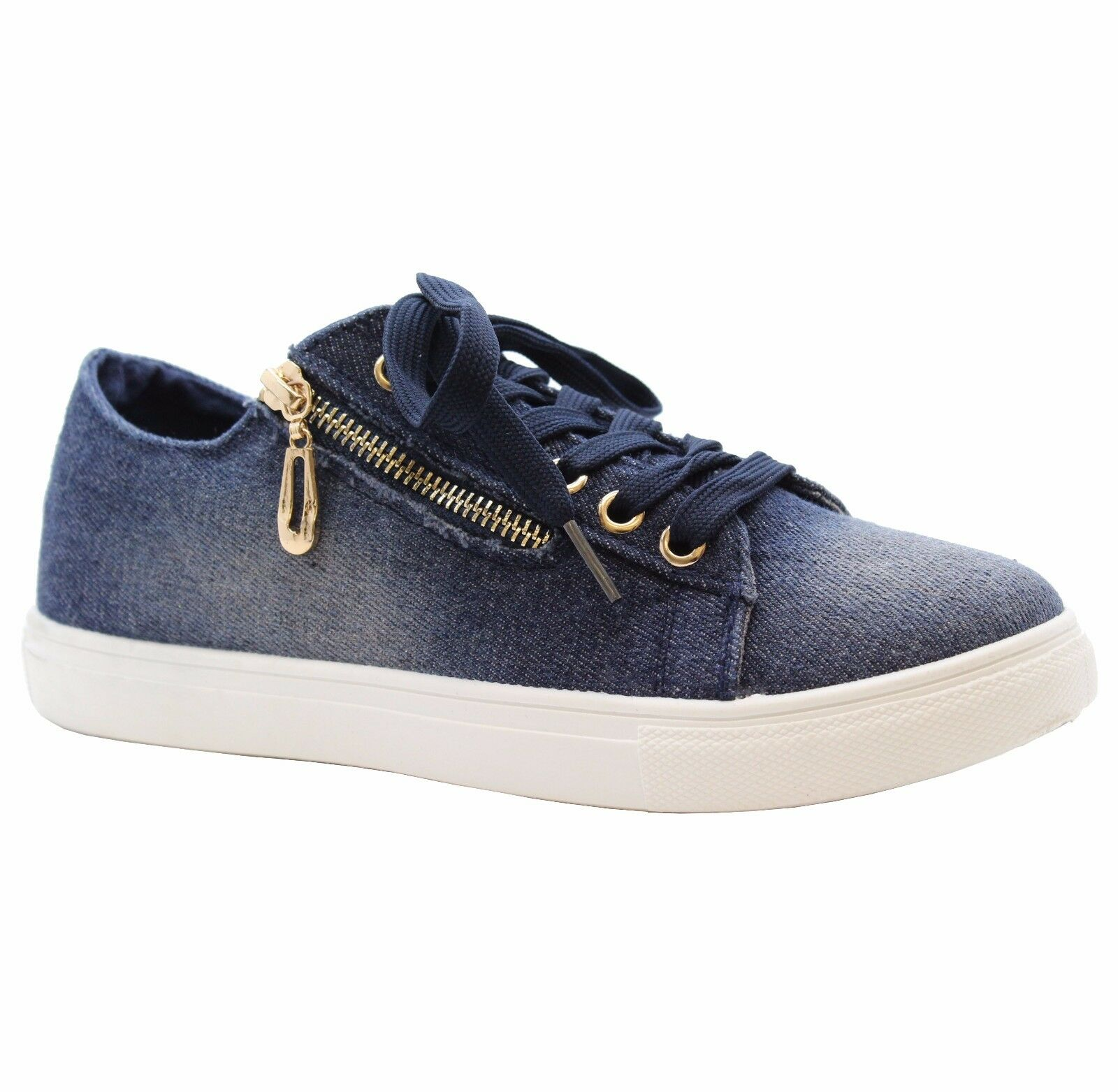 Ladies Womens Flats Lace Up Canvas Funky Denim Sneaker Pumps Trainers Shoes Size