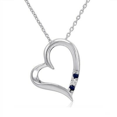 Three Stone Sapphire and Diamond Heart Pendant in .925 Sterling Silver