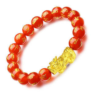 Pure 24K Yellow Gold 3D Pixiu & 8mmW Six-word Motto Red Agate Beads Bracelet