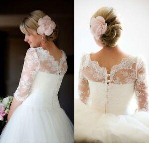 Lace-Applique-Wedding-Jacket-Shawl-3-4-Sleeve-Bridal-Boleros-Wrap-Custom-6-8-10