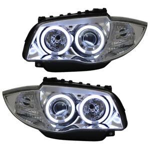 Scheinwerfer-Set-CCFL-Ringe-Angel-Eyes-BMW-E87-Bj-04-11-Chrom