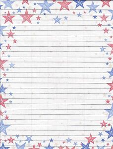 patriotic stars on fine lined stationery set with 25 sheets and 10