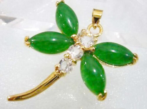 Emerald Green Jade Yellow Gold Plated Crystal Dragonfly Pendant /& Necklace
