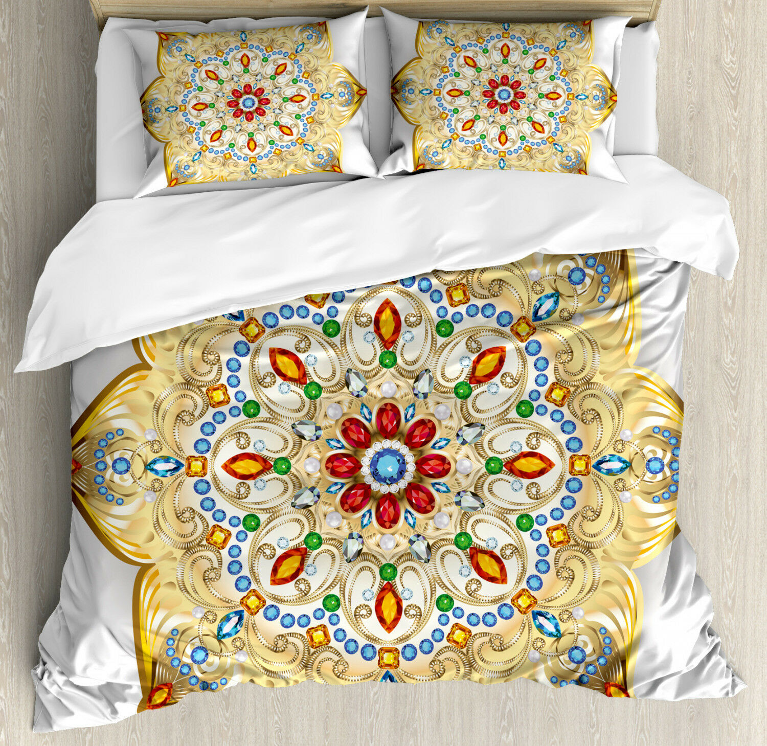 Mandala Duvet Cover Set with Pillow Shams Lively colorful Figure Print