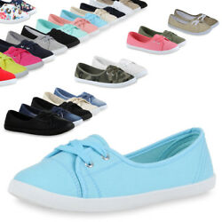 Damen Ballerinas Sportliche Stoffschuhe Slipper 71109 Schuhe Trendy Neu