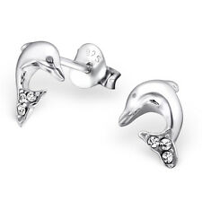 Sterling Silver 925 Crystal Dolphin Stud Earrings
