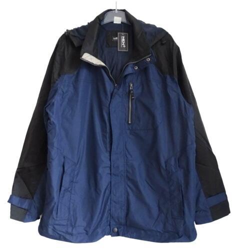 NEU Übergröße schicke Herren Jacke blau schwarz Kaputze wasserabweisend Gr.64,72