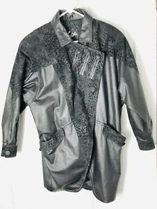 650e731b4 Details about Women's Small S/M Winlit Vintage Black Genuine Leather Long  Coat Jacket 80s 90s