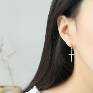 Damen-Ohrhaenger-Kreuz-Creolen-echt-Sterling-Silber-925-Ohrringe