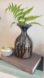 Hand Thrown Mid Century Stoneware Pottery Vase Drip Glaze Purple Blue Signed