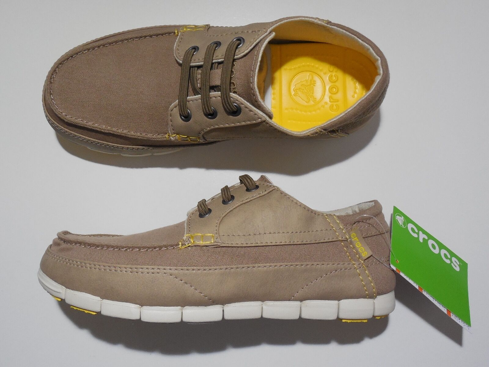 Crocs Stretch Sole Lace Up Slip On Loafer Tumbleweed Stucco 8 Mens