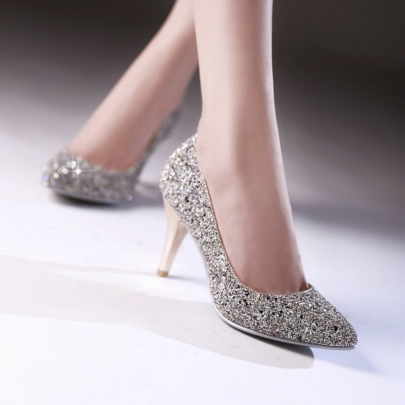 Womens Slip On Sequins Pointed Toe Pumps High Heel Bling Party Wedding shoes