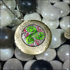 Triskelion Irish Stained Glass Celtic Triskele Antique Bronze Locket Necklace