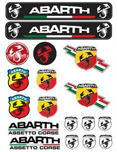 Abarth Tuning Decals Sticker 1 Set-18 Piece Full color HD | eBay