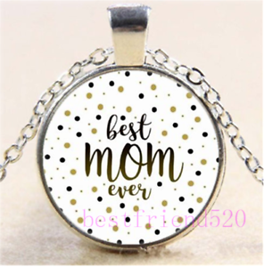 Best Mom Photo Cabochon Glass Silver//Black//Bronze Chain Pendant Necklace#DH24