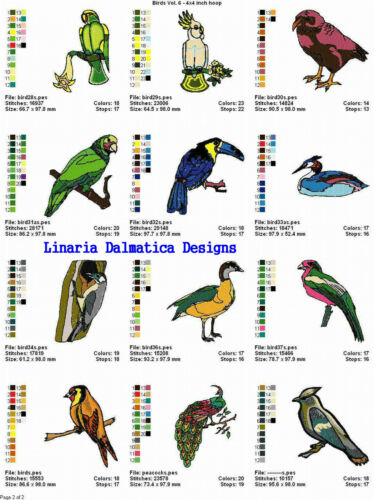 4x4 BEAUTIFUL BIRDS V 6 LD MACHINE EMBROIDERY DESIGNS