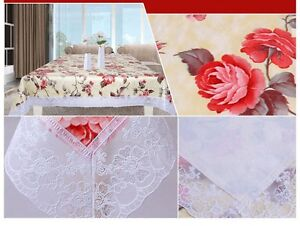 UK-Seller-Wow-New-Wipe-Clean-Tablecloth-Oilcloth-Vinyl-PVC-Lace-140-X-180cm-Gold