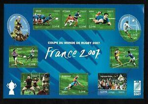 Bloc-Feuillet-2007-N-110-Timbres-France-Neufs-Coupe-du-Monde-de-Rugby-2007