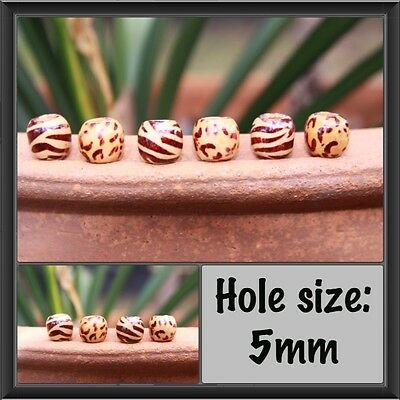 16 Wooden Animal Print Dreadlock Hair Beads 5mm Hole (3/16') + FREE Tibetan Bead