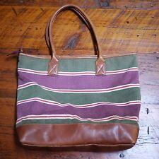 EDDIE BAUER Striped 100% Cotton Canvas Leather Handle Large Purse Beach Bag Tote