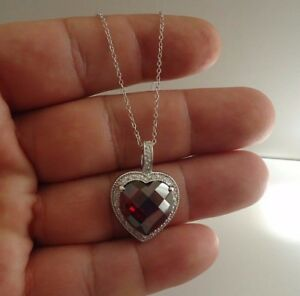 HEART-PENDANT-NECKLACE-W-11-50-CT-LAB-DIAMONDS-amp-GARNET-925-STERLING-SILVER