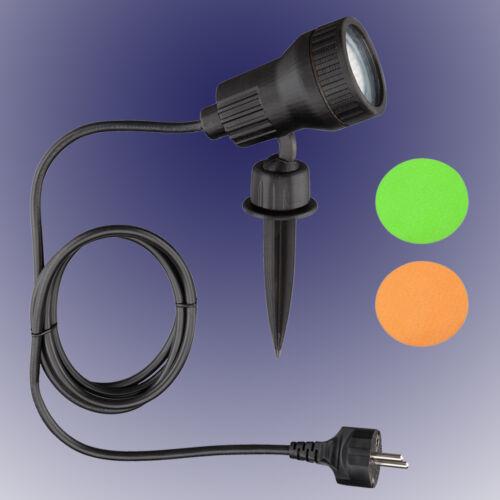 Trango Gartenstrahler Gartenlampe 1-flammig mit 3 Watt LED /& Farbscheiben TG3075