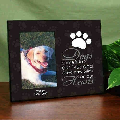 personalized dog memorial photo frame paw prints on our heart dog picture frame - Dog Memorial Frame