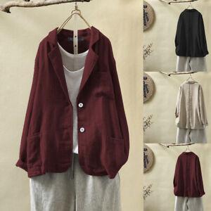 Mode-Femme-Manteau-Manche-Longue-Revers-Simple-Confor-Loose-Chemise-Veste-Plus
