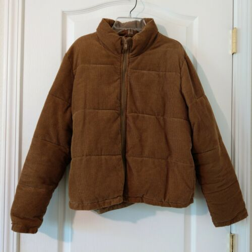 Brandy Melville Macy Puffer Brown Corduroy Jacket