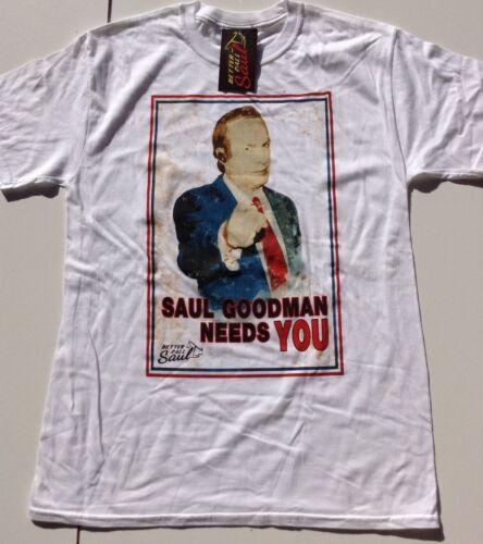 Men/'s Ex Boutique tête en plastique Breaking Bad Blanc Saul Goodman a besoin de toi T Shirts