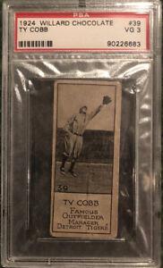TY COBB 1924 Willard's Chocolate #39 -Detroit Tigers HOF- ULTRA RARE 🔥 PSA 3 VG