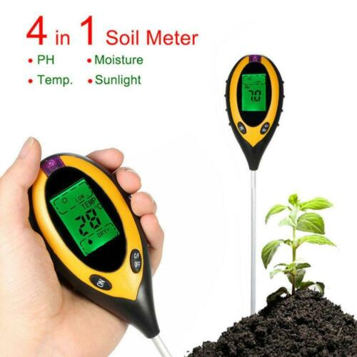 4 In 1 Bodentester LCD Digital Temperatur Sonnenlicht Feuchtigkeit PH-Meter D7V1