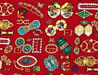 Rare Fabric Cotton Antique Jewelry Art Deco Brooch Pins Shamash 1/2 YD