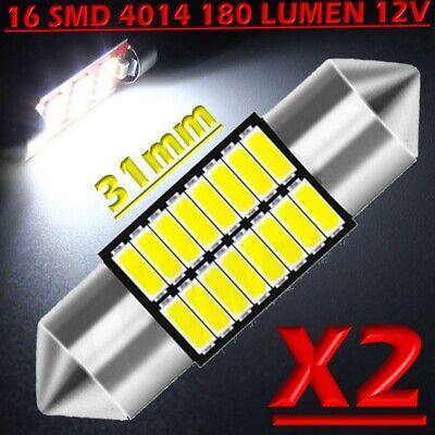 2 LED Festoon 31mm 6 SMD BIANCO Lampade Luci Xenon Lampadine Interno Targa