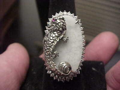 Flat Oval Celadon Jade JOY Chinese Good Luck Symbol Sterling Silver Ring Sz 7