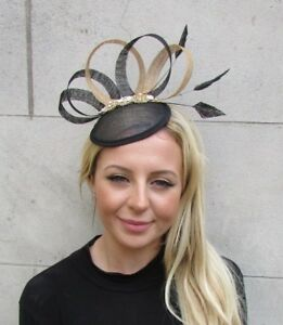 6c9a495b Image is loading Black-Gold-Silver-Diamante-Feather-Pillbox-Hat-Fascinator-