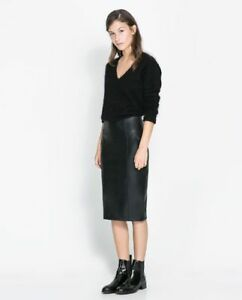 classcic how to get cute Details about ZARA LEATHER LOOK PENCIL SKIRT MIDI BLACK SIZE SMALL