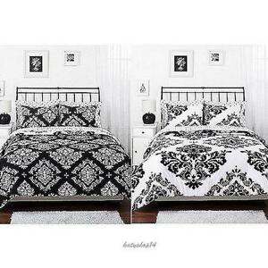Black White Comforter Bedding Set Damask Pattern Shams Classic