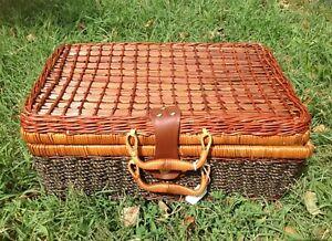 "Large 17"" Rattan Storage Box Wicker Picnic Basket Vintage 70s Suitcase Prop Box"