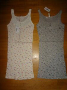 NWT-2-Aeropostale-gray-cream-floral-polka-dot-button-boho-tank-tops-XS-rib-knit