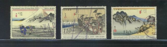 JAPAN 2001 INT'L LETTER WRITING WEEK (PAINTINGS) COMP. SET OF 3 STAMPS FINE USED