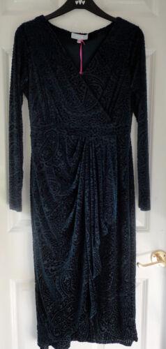 Paisley Robe 14 Burnout lunghe portefeuille Ms Maniche bleu sarcelleBnwt MVUzpqSGL