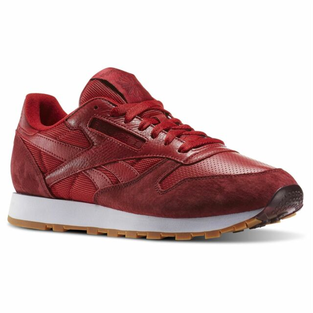 0dd16a278ff Reebok Classic Leather Perfect Split Trainers Mens Red Footwear Shoes  Sneakers