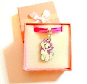 Disney-039-s-AristoCat-Marie-Kawaii-Cute-Pendant-on-Organza-amp-Cord-Necklace-in-Box