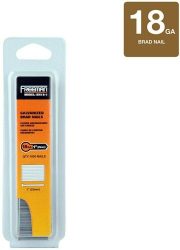 Freeman 1 in 18 Gauge Glue Collated Galvanized Brad Nails 1000 Count Metal