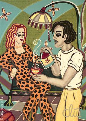 JACQUELINE DITT - Hot Tea A4 DRUCK n.Gemälde Bild Tee Bilder art