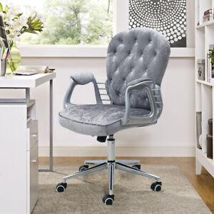 Executive Velvet Swivel Chair Computer Desk Armchair Padded Home Office Grey Uk Ebay